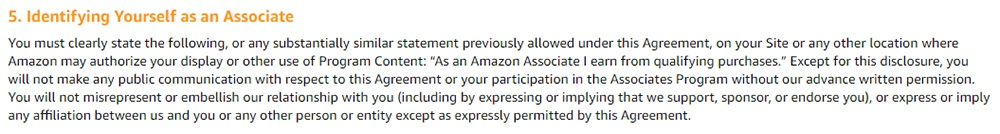 Amazon Associates Program Operating Agreement: Identifying Yourself as an Associate