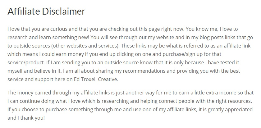 Ed Troxell Creative Affiliate Disclaimer