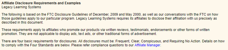 Legacy Learning Systems Affiliate Disclosure Requirements and Examples