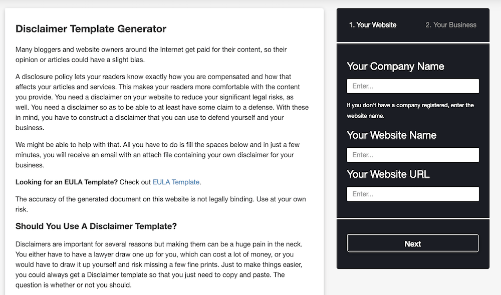 Disclaimer Template Generator