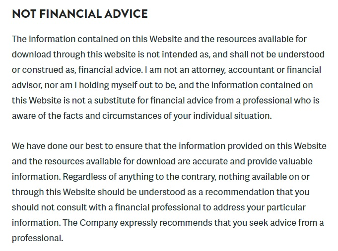 investment advice disclaimer samples